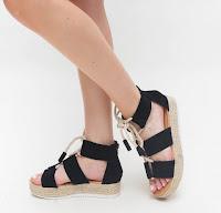 Sandale negre cu talpa joasa din piele eco intoarsa