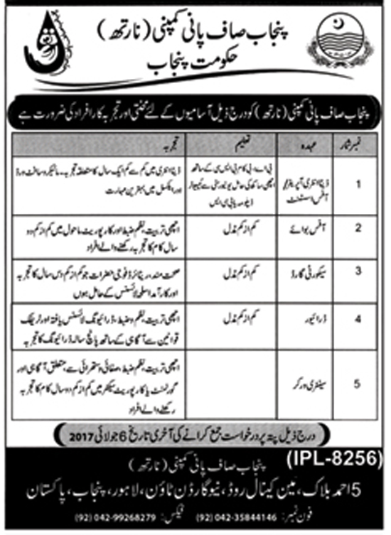 Jobs In Punjab Saaf Pani Company Lahore 5+ 22 June 2017