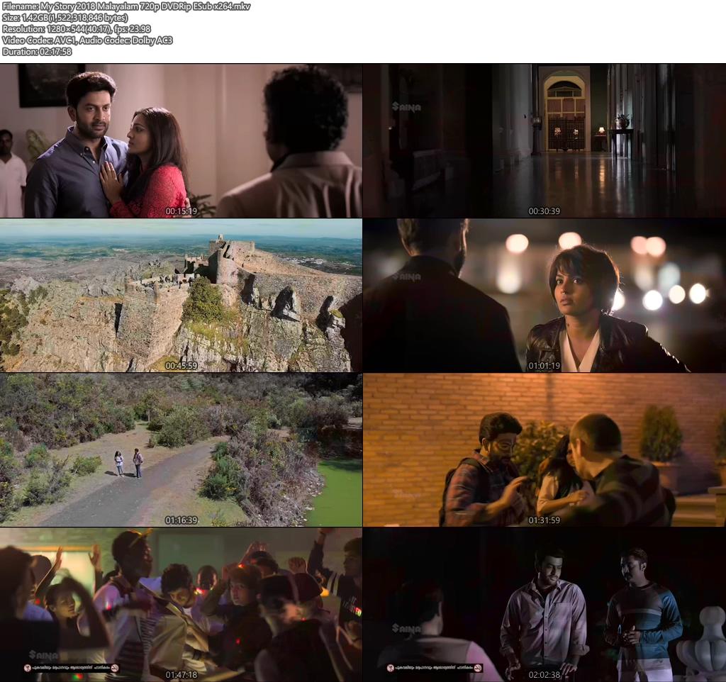 My Story 2018 Malayalam 720p DVDRip ESub x264   480p 300MB   100MB HEVC Screenshot