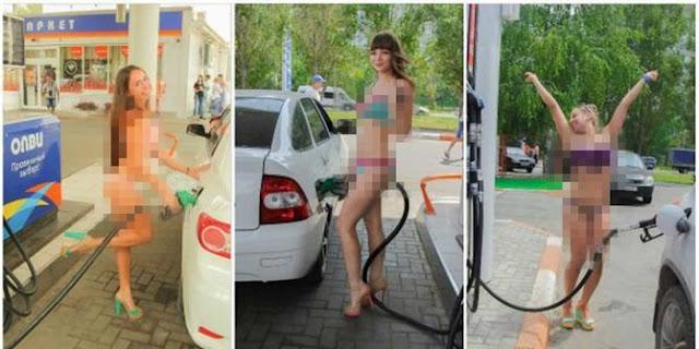 bensin gratis asal pembeli pakai bikini