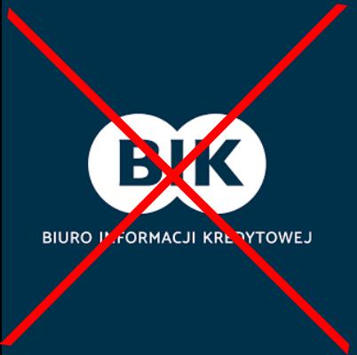 Zdjęcie przedstawia logo Biura Informacji Kredytowej przekreślone czerwoną literą X