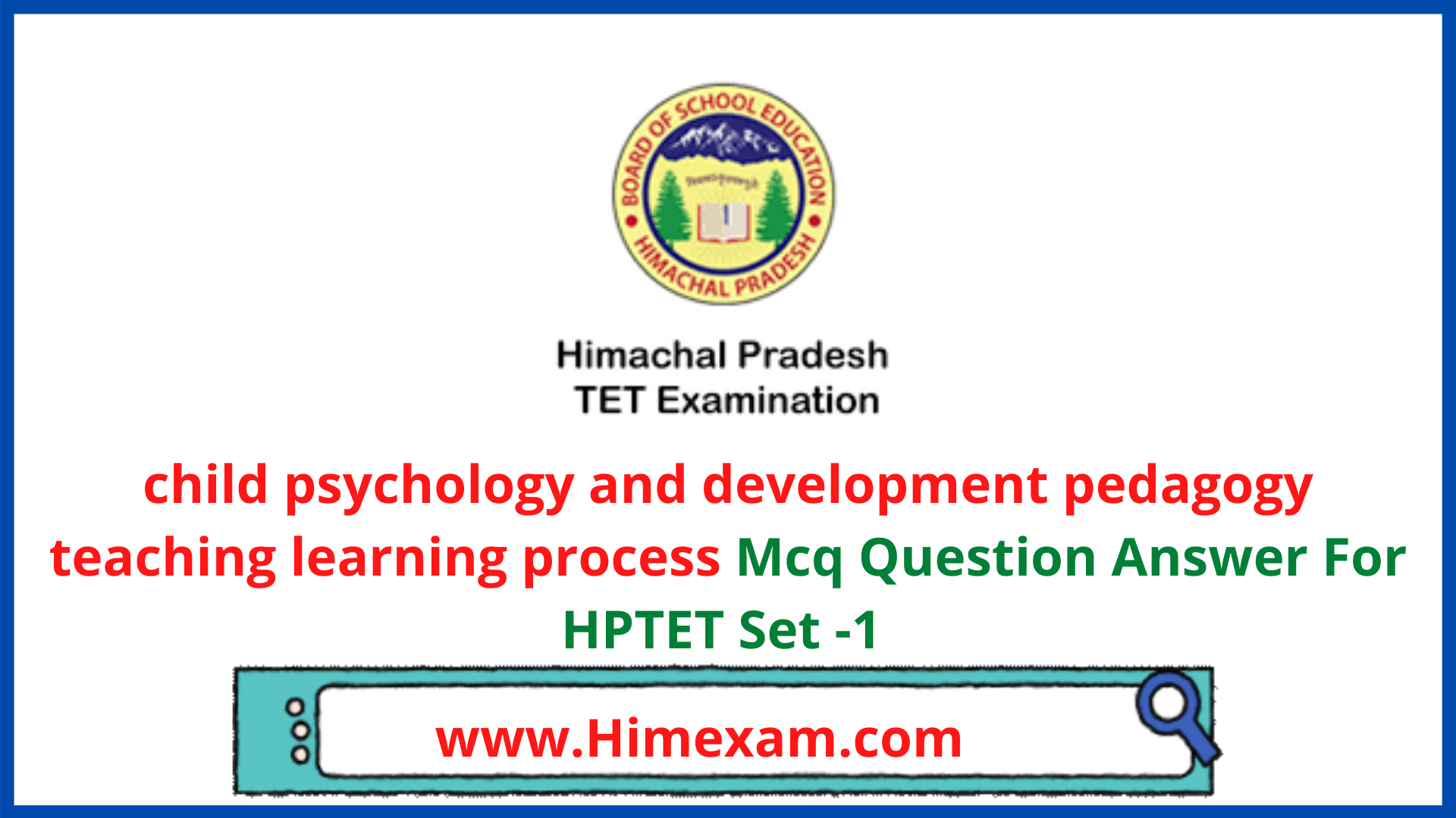 child psychology and development pedagogy teaching learning process Mcq Question Answer For HPTET Set -1