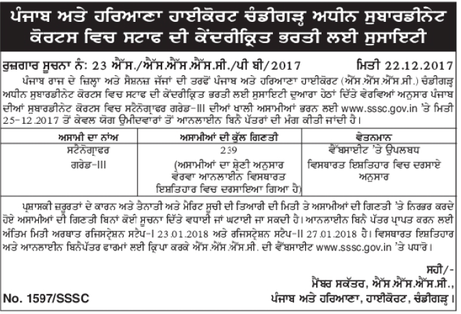 Government jobs in punjab for freshers