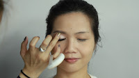 Inner Double Folded Eyelid Makeup -Apply color 2 into inner lid and blend to the crease area.
