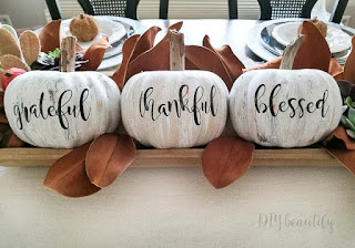 white pumpkins with grateful, thankful, blessed words