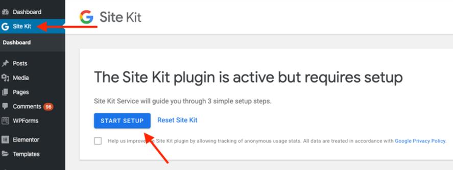Set up Google Site Kit