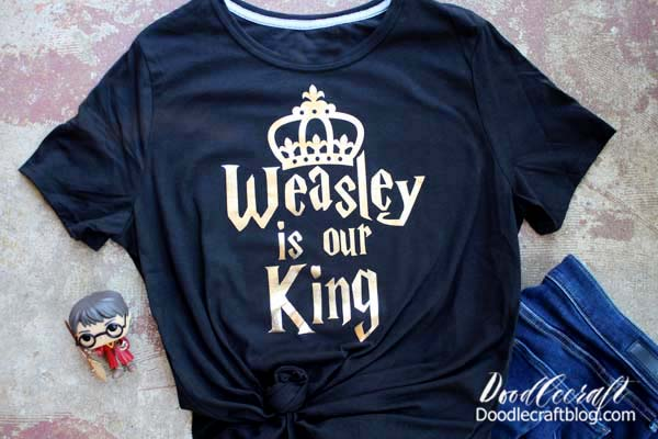Weasley is our King shirt made with Cricut Maker and gold foil iron-on vinyl.