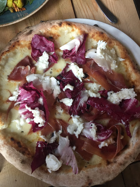 Water Lane Boathouse menu tasting prosciutto, mozzarella and radicchio pizza