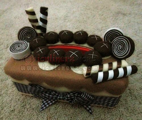 Jual Kotak / Sarung / Tempat Tisu, Toples Kue Flanel Set Karakter Kartun Chocolate Spring