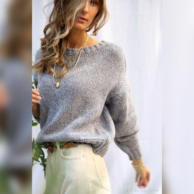 Μοντέρνο γυναικείο γκρι πουλόβερ BERNIE GREY