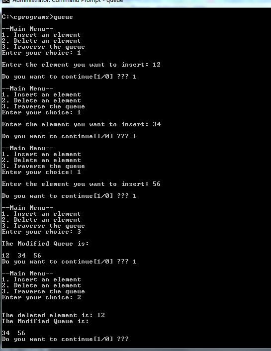 Implementation of Queue Operations in C program - PLEXINFO