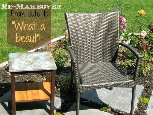 Faux Oxidized Copper Topped Table {A REmakeover and REpurpose}