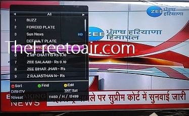 Zee Punjab/Haryana/Himachal Channel Temp FTA from SES 12 (Dish TV)