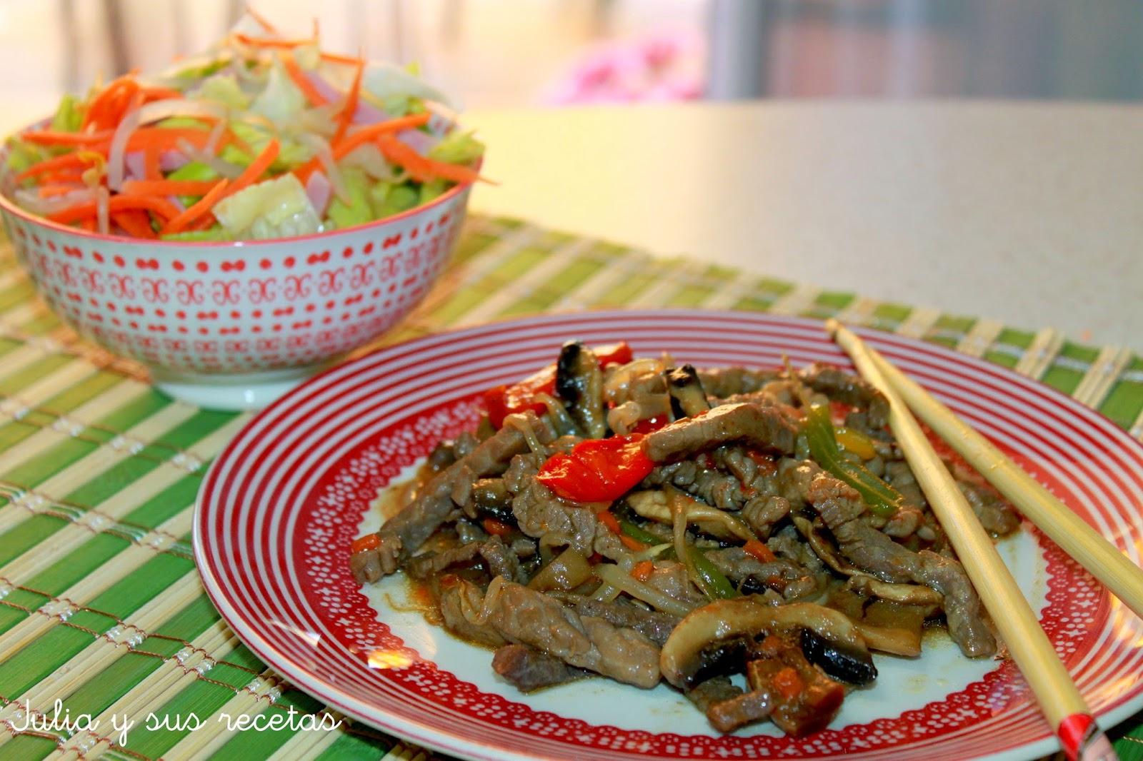 Chop suey de ternera. Julia y sus recetas