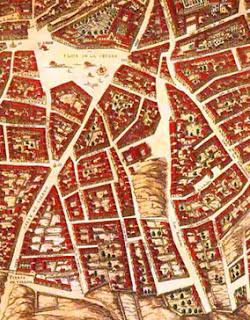 Vista parcial de la zona del Rastro, con detalles de las construcciones y nombre de las calles.