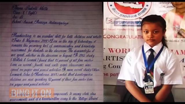 Menakjubkan, Tulisan Tangan Anak Ini Disebut Tercantik di Dunia