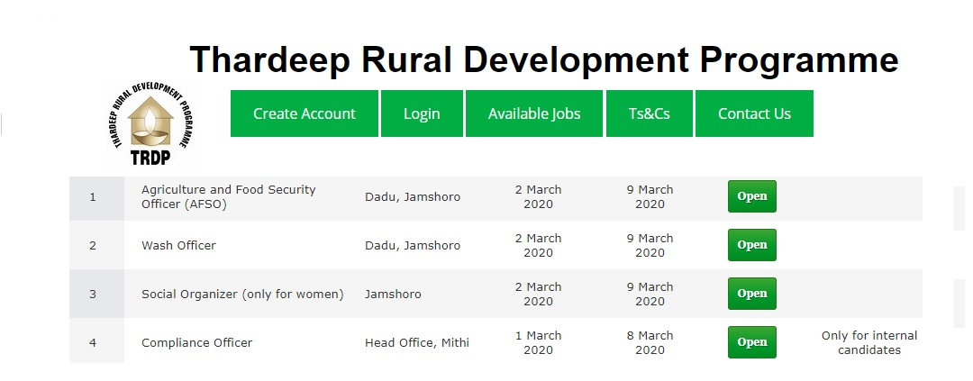 Thardeep Rural Development Programme Jobs 2020 for Agriculture and Food Security Officer (AFSO), Wash Officer & more