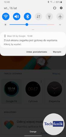 Zrzut ekranu zegarka jest gotowy do wysłania