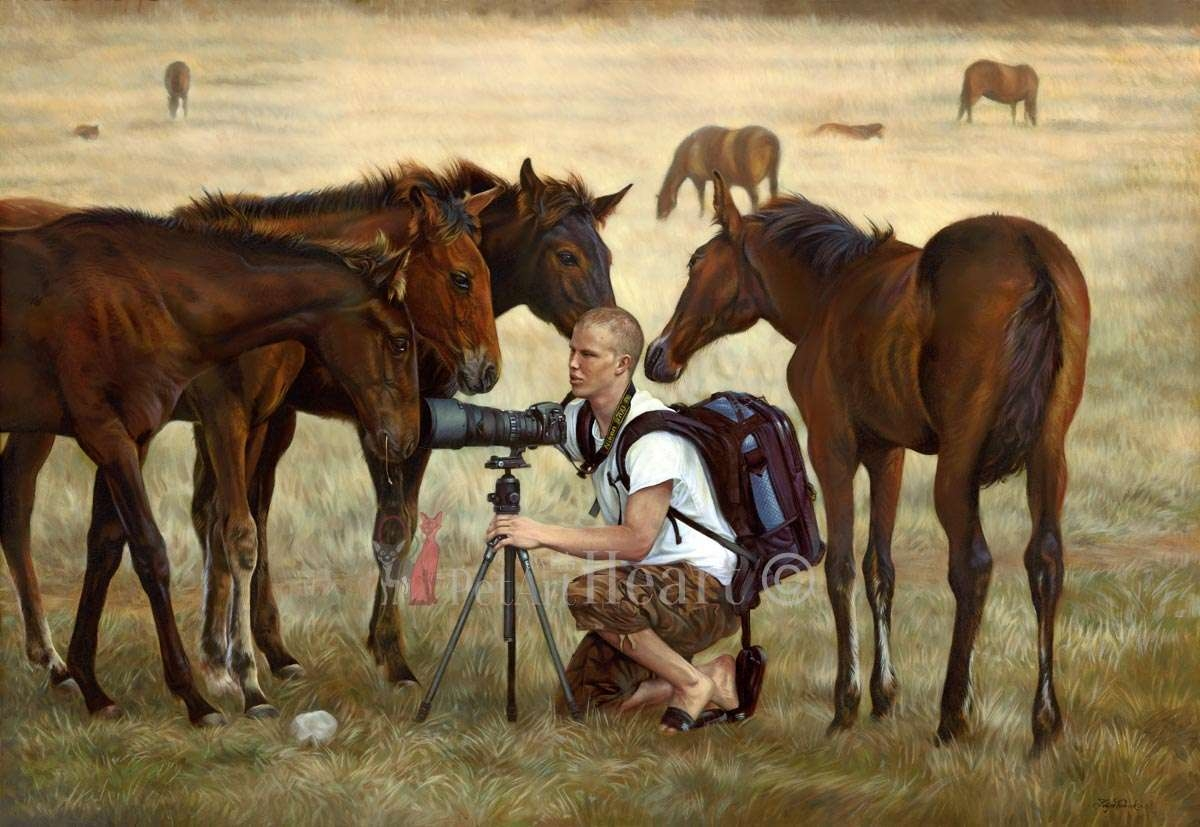 11-Horses-on-Meadow-Mikael-Katja-Turnsek-An-Enjoyable-Road-with-Animal-Oil-Paintings-www-designstack-co