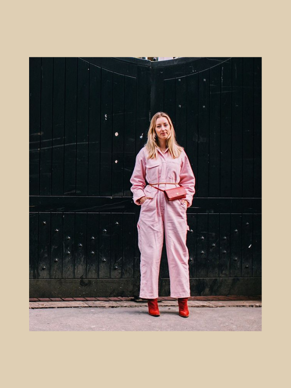 glossier uniform, boilersuit, pink