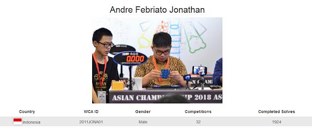 Profile akun WCA Andre Febriato Jonathan yang merupakan peringkat kelima rubik 7x7x7 kategori single
