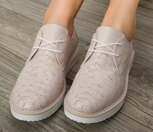 Pantofi casual dama roz la moda din piele naturala la pret mic