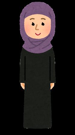ヒジャブを付けたムスリムの女性のイラスト