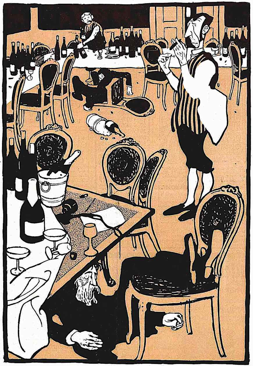 a Bruno Paul illustration of waiters cleaning up among drunken unconscious men