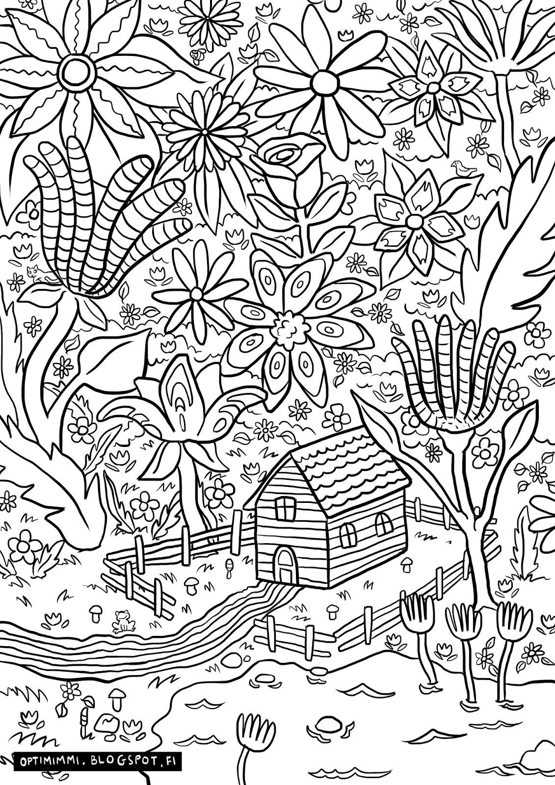OPTIMIMMI: A paradise (a coloring page) / Paratiisi ...