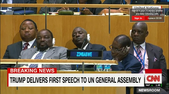 Relaxed pose and eyes shut at Zimbabwe's UN corner