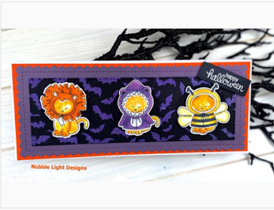 Happy Halloween by Priscilla features Newton's Costume Party, Flying Bats, and Slimline Frames & Windows by Newton's Nook Designs; #newtonsnok, #cardmaking, #halloween