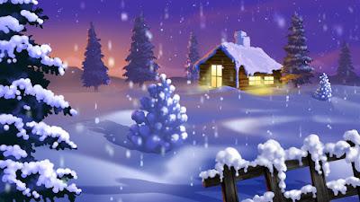 Χριστούγεννα. Χιονισμένο τοπίο με έλατα και ένα σπίτι με λευκή στέγη από το χιόνι. Ακολουθεί το κείμενο: Ὄξω πέφτει ἀδιάκοπα καὶ πυκνὸ τὸ χιόνι, κρύα καὶ κατασκότεινη κι ἀγριωπὴ ἡ νυχτιά. Εἶναι ἡ στέγη ὁλόλευκη, γέρνουν ἄσπροι κλῶνοι, μὲς τὸ τζάκι ἀπόμερα ξεψυχᾶ ἡ φωτιά...     Τρέμει στὰ εἰκονίσματα τὸ καντήλι πλάγι καὶ φωτάει στὴ σκυθρωπή, στὴ θαμπὴ ἐμορφιά. Νὰ ἡ φάτνη, οἱ ἄγγελοι κι ὁ Χριστὸς κι οἱ Μάγοι καὶ τὸ ἀστέρι ὁλόλαμπρο μὲς στὴ συννεφιά!     Κι οἱ ποιμένες, ποὺ ἔρχονται γύρω ἀπὸ τὴ στάνη κι ἡ μητέρα τοῦ Χριστοῦ στὸ Χριστὸ μπροστά. Τὸ μικρὸ τὸ εἰκόνισμα ὅλ᾿ αὐτὰ τὰ φτάνει, μαζεμένα ὅλα μαζὶ καὶ σφιχτὰ-σφιχτά.     Πέφτει ἀκόμη ἀδιάκοπο κι ἄφθονο τὸ χιόνι, ὅλα ξημερώνονται μ᾿ ἄσπρη φορεσιὰ στὸν ἀγέρα ἀντιλαλοῦν τοῦ σημάντρου οἱ στόνοι, κάτασπρη, γιορτάσιμη λάμπει ἡ ἐκκλησιά...