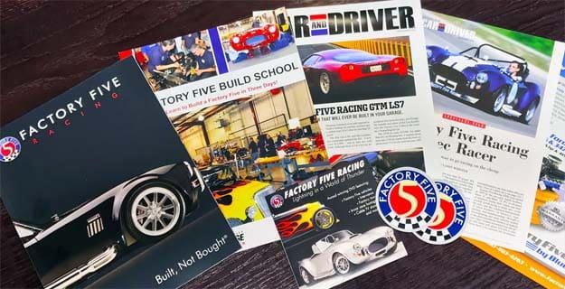 احصل على الكتيبات و DVD وملصقات من Factory Five Racing مجانا حتى باب بيتك