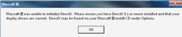 Warcraft III was unable to initialize DirectX