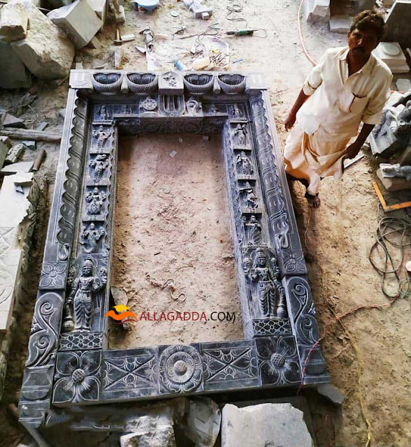 Temple entrace door stone art by Sri Lakshmi Veera Bhadra Shilpa Kala Mandiram located in Allagadda
