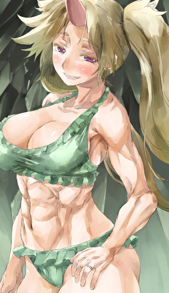 anime girl with abs