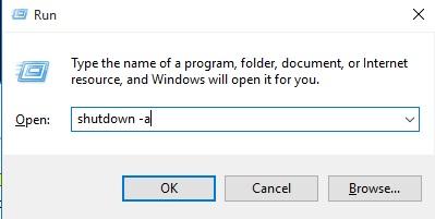 Shutdown otomatis dapat digagalkan dengan menggunakan Run