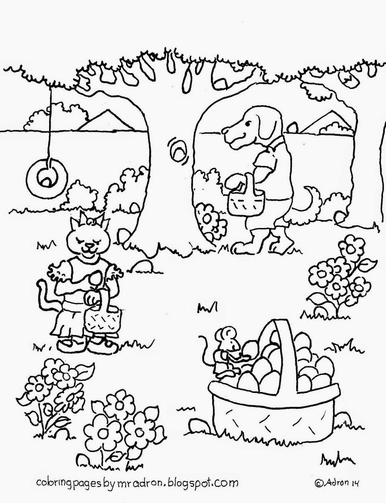 An illustration of Easter to be printed and color.