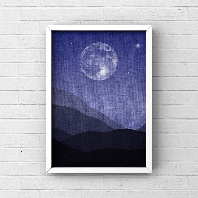 Midnight, moon over mountains, art