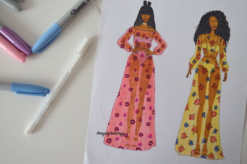 FASHION DRAWING SHEER FLORAL MAXI DRESSES