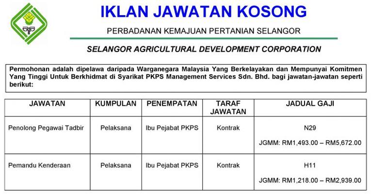 Kekosongan Terkini di Perbadanan Kemajuan Pertanian Selangor (PKPS)