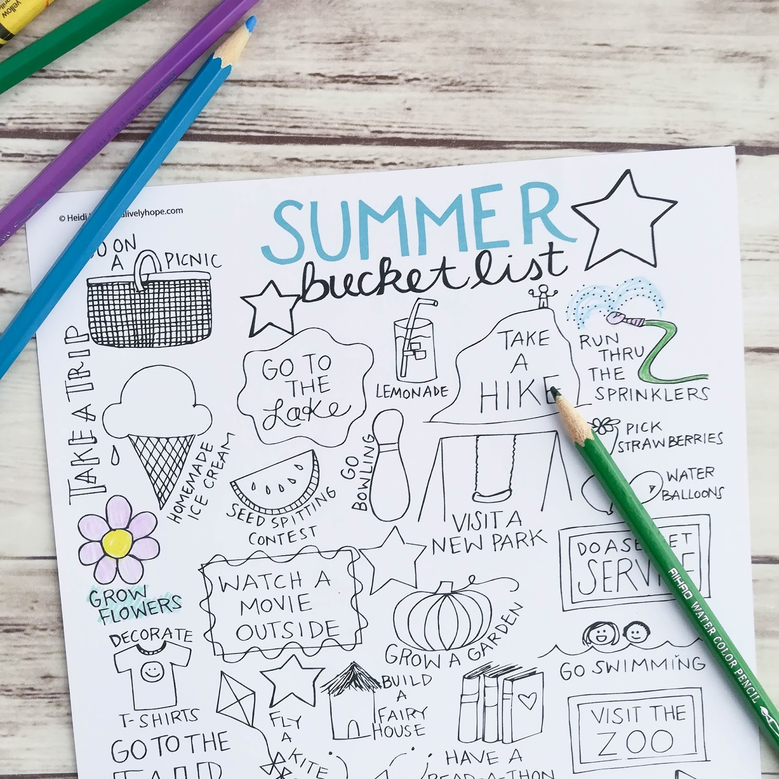 A Lively Hope Summer Bucket List Free Printable