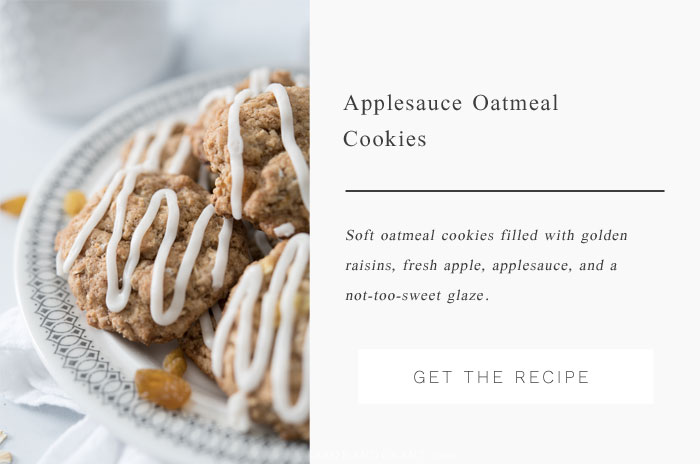 A traditional oatmeal raisin cookie is given fall flavor with cut up apples, applesauce and golden raisins, along with a not-too-sweet drizzle of glaze.