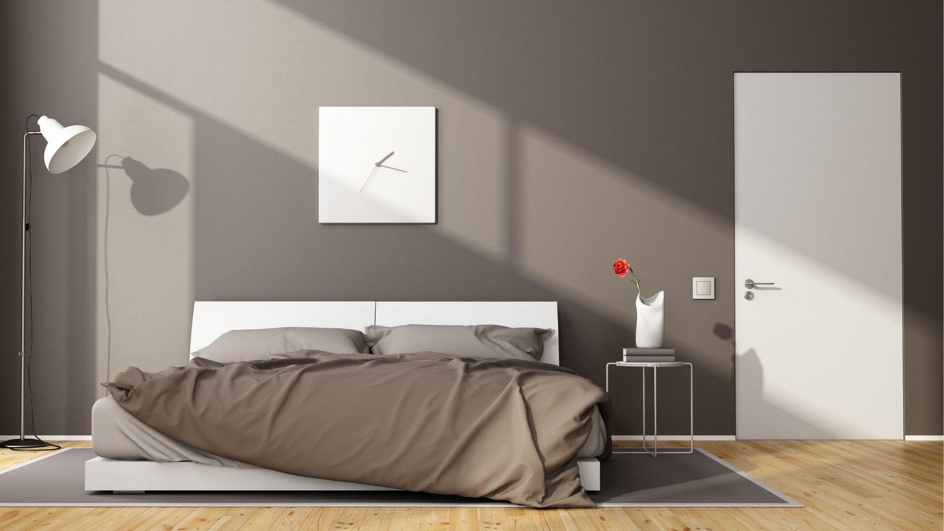 nowoczesna sypialnia brąz