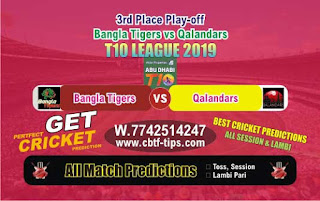 Who will win Today T10 League 2019, 3rd Place Play-off Match QAL vs BAT - Cricfrog