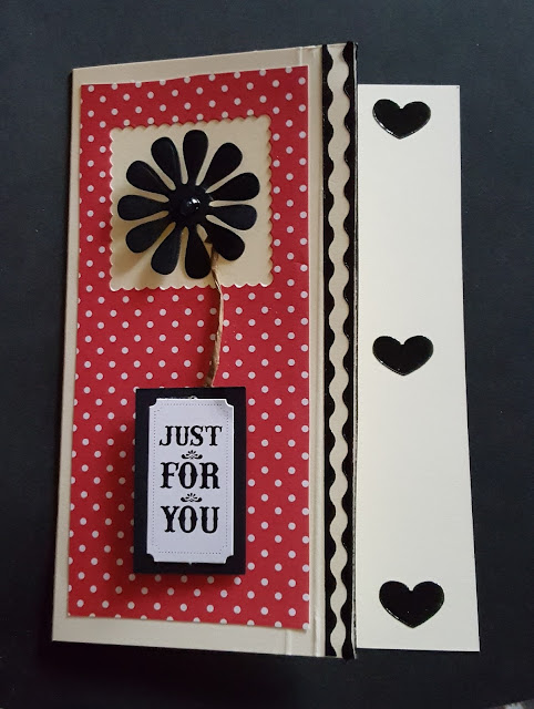 Just for you C6 cream Flower and hearts card
