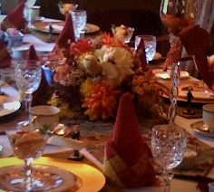 dinner party setting with an autumn theme