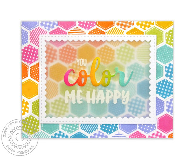 Sunny Studio Stamps: Quilted Hexagons You Color Me Happy Rainbow Card by Mendi Yoshikawa