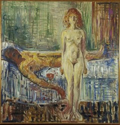 Painting of a naked woman standing beside a naked man lying on a bed
