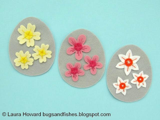 embroidered felt spring flowers